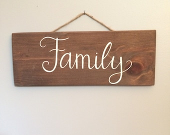 Family // wooden calligraphy sign