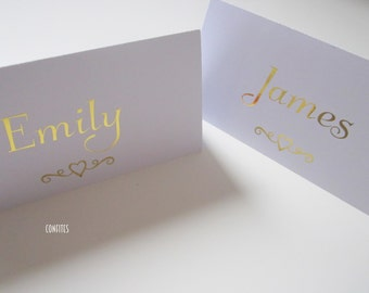"""Wedding Place Cards Table Decoration """"Heart Swirl"""" - Gold print - Pack of 10"""