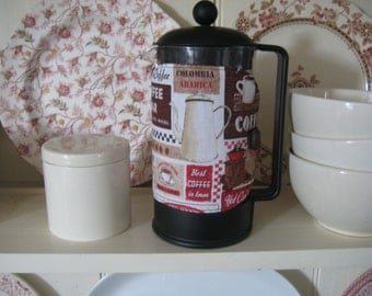 Cafetiere/French press cosy with retro coffee shop signs