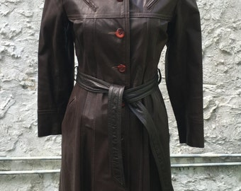 Women's Vintage 1970's Dark Brown Leather belted trench coat