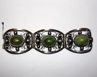 Mexican Sterling Silver Green Jade Cabochon Filigree Bracelet