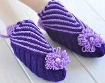Knitted Slippers, Purple Sock Slippers, Wool Socks, Furoshiki Shoes, Sling Heel Knit Slippers, Warm Socks for Women, Gift for Travel