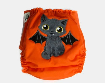 Tricky kitty cloth diaper - Halloween cloth diaper - Baby Halloween outfit - First Halloween - Halloween diaper - Baby costume