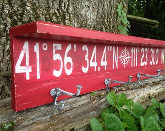 Personalized latitude longitude coat rack shelf/ longitude latitude coat rack/gps coordinates shelf/distressed coordinate shelf/red shelf