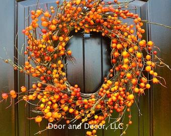 Berry Wreath, Orange Berry Wreath, Harvest wreath, orange wreath, Clemson wreath