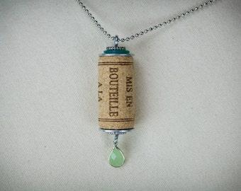 Cork and gemstone necklace