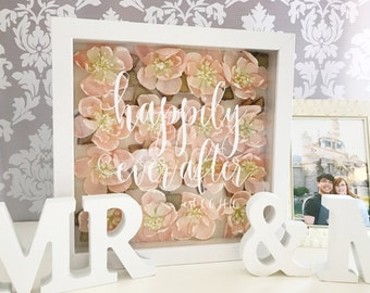 LIMITED EDITION Happily Ever After Newly Wed Gift, Happily Ever After Shadow Box, Mr & Mrs Framed Gift, Personalized Gift, Wedding Gift