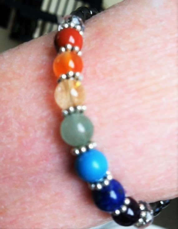 Full Chakra Rainbow bracelet, 7 chakra balance Yoga Metaphysical Sedona & Reiki charged, Matching, Mother Daughter jewelry for Enlightenment