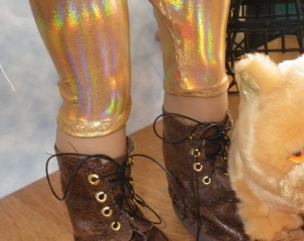 Disco Baby Gold Holographic Leggings American Girl Doll