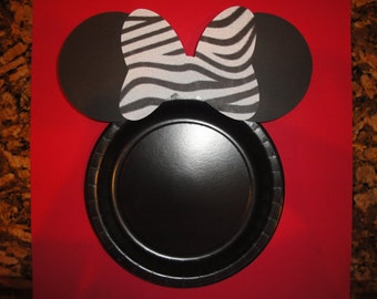Custom Zebra Minnie Mouse Plates