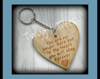 You are no longer here but in My Heart you will stay Forever  Engraved Keyring Keychain Gift wooden