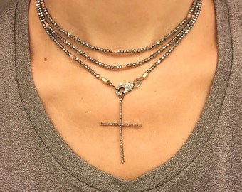 Diamond Cross on Crystal Triple Wrap Necklace
