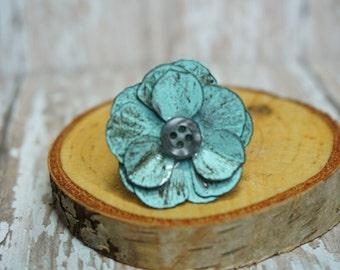 Blue Metal Flower Button Ring