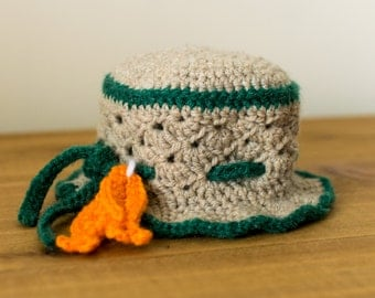 Gone Fishin' Crochet Sun Hat-- Newborn to 3 Months
