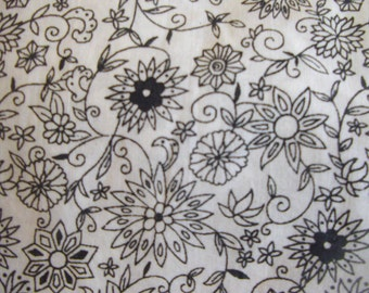 black & noir Fabric 100% cotton  Flowers  Printed
