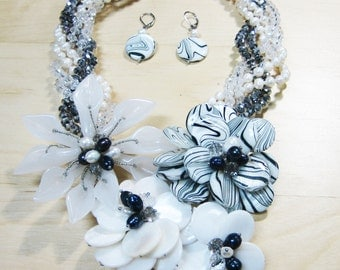 Mother of Pearl Flower Garden Necklace, Twisted, Crystal, Fresh Water Pearl, Multi Strand