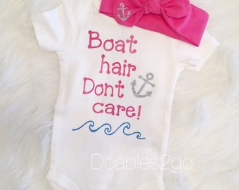 Boat Hair Dont Care Onesie/ Anchor headwrap/ Boat Onesie/ Baby Girl Onesie/ Summer Time/ Baby Boating/ Anchor Onesie/ Baby Head wraps