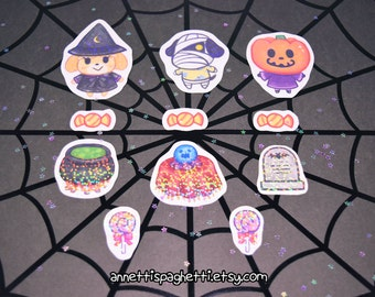 Handmade Animal Crossing New Leaf Sparkly Halloween Sticker Set, Video Game Sticker Pack (11 Pieces),ACNL, Kawaii Stickers, Stationary