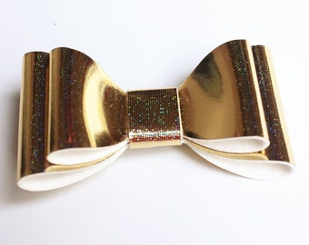 Baby/Toddler/Girl/Adult 2.75 Inch Double Hologram / Reflective Hair Bow on Lined Alligator Clip -  Gold