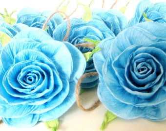 10 lrge paper flowers aqua mint blue baptism sea wedd backdrop table christening Decor Baby Shower tribal boy teal Birthday baptism party