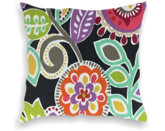 Floral Indoor Decorative Pillow-Throw Pillows, Home Dec, Sofa Pillow Covers, Black Green Pink Coral Cushion Cover