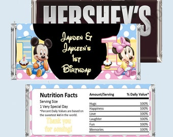 Baby Mickey Mouse and Minnie Mouse 1st Birthday Candy Bar Wrapper For TWINS, Hershey Bar Wrappers PRINTABLE