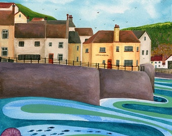 Cod & Lobster, Staithes - Limited Edition Fine Art Print from an Original Artwork by Bridget Wilkinson