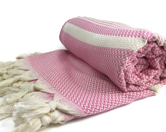 Turkish Towel Turkish Hammam 100 Cotton Peshtemal Yoga Pestemal Otentik Pink