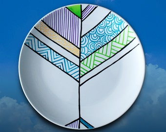 Different Sky #2 - Hand painted porcelain dinner plate