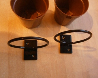 2x Wrought Iron (Forged Steel)Custom Made Plant Pot Ring Bracket/ Holders+