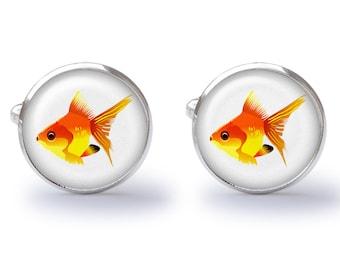 Goldfish Cufflinks - Fish Cufflinks - Tropical Fish Cufflinks - Beach Cufflinks (Pair) Lifetime Guarantee (S0429)