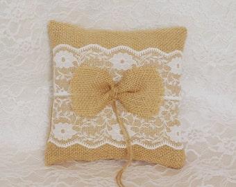 Burlap Ring Pillow Wedding Ring Burlap Ring Bearer Pillow Rustic Wedding Natural  Pillow Rustic Wedding Vintage Ivory cotton trim Woodland