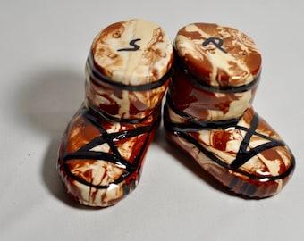 Hand-painted Alaska Eskimo Boots Salt and Pepper Shakers - Ceramic
