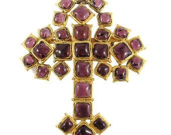 Stunning Rare Signed Chanel Gripoix Cross Brooch. c. 1982