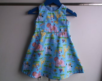 Nursery zoo blue dress