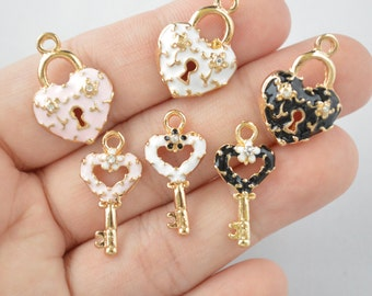 1 Set of Key And Lock Enamel Charm With Rhinestone In Gold Tone - C67