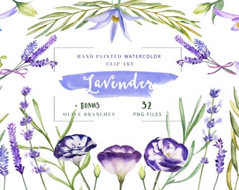 Lavender olive watercolor clipart, hand painted watercolor flowers, DIY wedding clipart