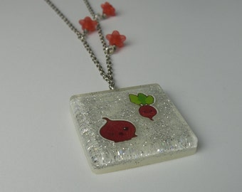 Resin necklace with kawaii stickers