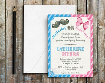 Gender Reveal Invitation, Mustache or Bows, Pink and Blue Theme, Baby shower invite, Pink Bows, Mustache, Printable Digital Invite