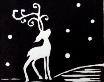Reindeer Hand Printed Lino Greeting Card