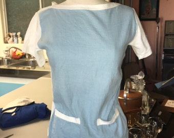 1950's Vintage Kaynee Regatta Cotton Yarn Top Blouse Blue White Terry Cloth