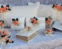 Coral Roses and ivory wedding set  (12 pcs)pillow , servers,flutes, basket, photo album, and more
