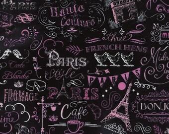 Sale 7.99 Yard - Timeless Treasures  Paris Fabric - Chalkboard  - Paris fabric - C3880 - 100% cotton Fabric