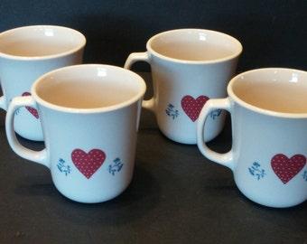 Corelle Hometown Coffee Mugs Cups - Set of 4 - Heart House Vintage
