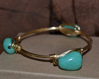 Teal wire wrapped bangle