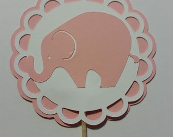 Pink Elephant Cupcake Toppers/It's a Girl/Gender Reveal/Party Decor/Party Supplies