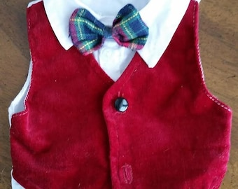 Dress Up Boy Doll White Button Shirt Velveteen Vest and Plaid Bow Tie Top