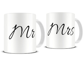 Personalised Mr and Mrs Coffee Mug Set - his and hers mugs - mr and mrs mugs - anniversary mugs - mr and mrs wedding gift - MG421