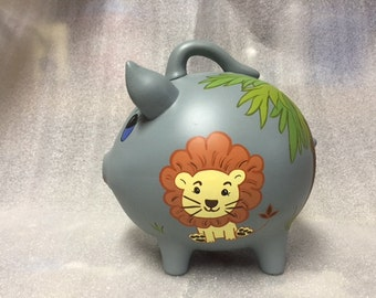 Piggy Bank: In the Jungle  Hand Made, Hand Painted