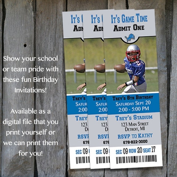 Printable Birthday Party Invitation Card Detroit Lions: Detroit Lions Themed Birthday Invitation By